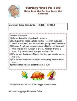 Turkey Trot to 120 - Add and Count to 120 Math Game