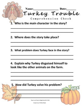 Turkey Trouble Comprehension Check Print and Go