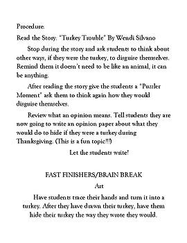 Turkey Trouble First Grade Writing Standard 1
