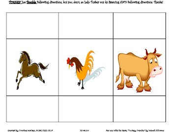 Turkey Trouble Following Directions & Spatial Concepts Activity