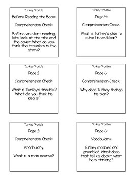 Turkey Trouble Interactive Read Aloud Sticky Note Questions