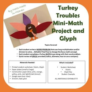 Turkey Trouble Mini-Math Project - word problems, glyphs, circles, 3rd - 5th