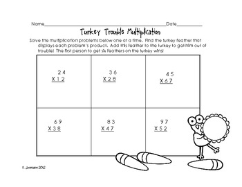 Turkey Trouble Multiplication: 2 digit by 2 digit multiplication activity