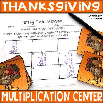 Turkey Trouble Multiplication Hunt (2 digits by 2 digits)