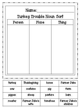 Turkey Trouble Noun Sort Freebie