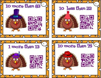 Turkey Trouble QR station - 1 more, 1 less, 10 more, 10 less to 120