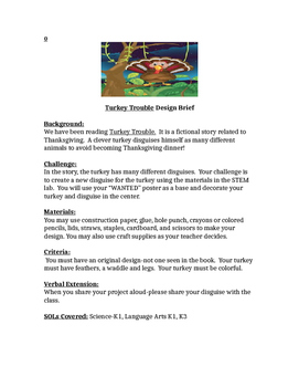 Turkey Trouble Thanksgiving Children's Engineering STEM Design Brief