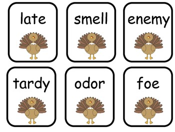 Turkey Trouble- Thanksgiving Synonym Game