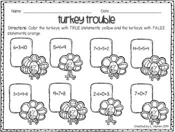 Turkey Trouble True/False Math Practice