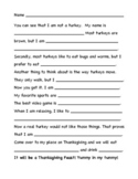 Turkey Trouble Writing Template