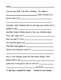 Turkey Trouble Writing Template for a Chicken