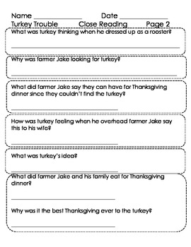 Turkey Trouble by Wendi Silvano Close Reading Lesson