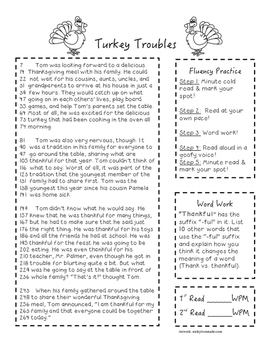 Turkey Troubles Fluency Passage
