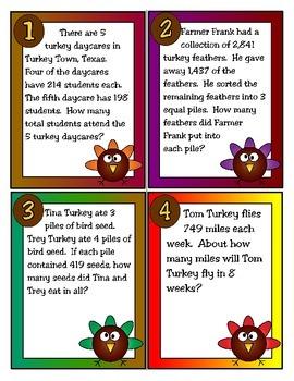 Turkey Troubles (Problem Solving): 4th Grade Math (TEKS 4.4H and 4.4G)