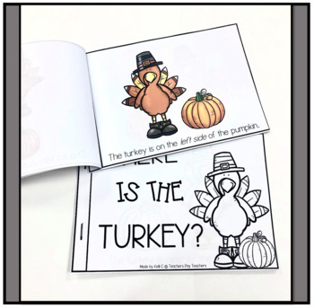 Turkey Turkey Book Using Position words and numbers 1-5