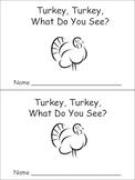 Turkey, Turkey Emergent Reader Preschool Kindergarten Thanksgiving