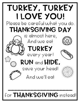 Turkey Turkey Poem FREEBIE!