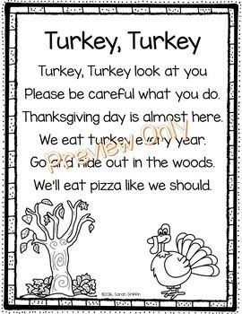 Turkey Turkey - Thanksgiving Poem for Kids