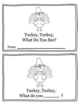 Turkey, Turkey What Do You See? Thankgiving Activity Emergent Reader