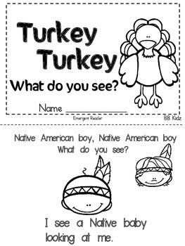 Turkey, Turkey, What do you see? Kindergarten Thanksgiving Booklet