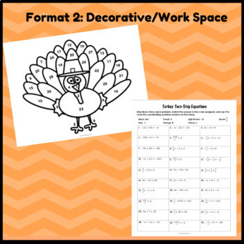 Turkey Two-Step Equations: Thanksgiving Coloring Activity