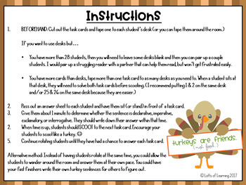 Turkey Types of Sentences Scoot Activity/Types of Sentences Task Cards