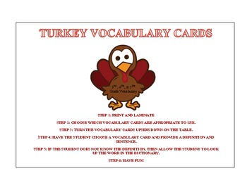 Turkey Vocabulary Cards