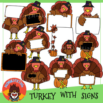 Turkey With Signs Clip Art