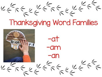 Turkey Word Families