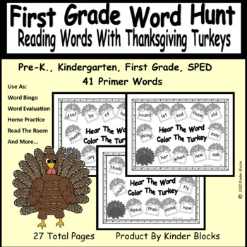 Turkey Word Find & Word Card Bundle - Pre-Primer, Primer, and First Grade Words