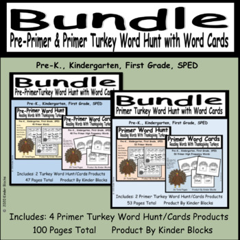 Turkey Word Find and Word Card Bundle - Pre-Primer and Primer