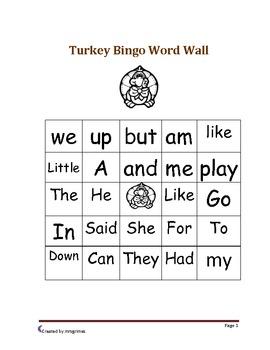 Turkey Word Wall Bingo