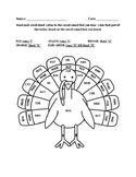 Turkey Word Work Coloring Sheet with Short and Long Vowel Sounds