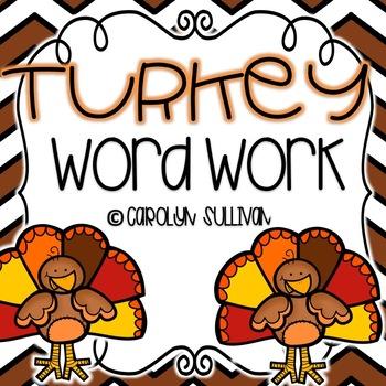 Turkey Word Work for November in Kindergarten