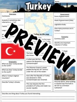 Turkey Worksheet