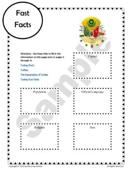 Turkey:  Worksheets, Maps, and Journaling Pages