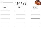 Turkey Writing!