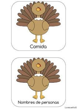 Turkey Writing Lists in Spanish