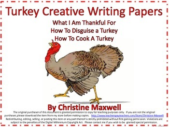 Free! Turkey Writing Paper for Thanksgiving-Three Grids and Ideas