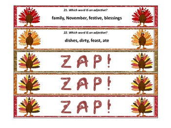 Thanksgiving Turkey ZAP! Nouns, Verbs, and Adjectives