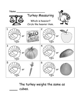 Turkey and Apple Balance Scale Activity
