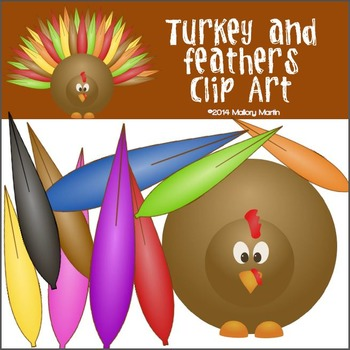 Turkey and Feathers Clip Art
