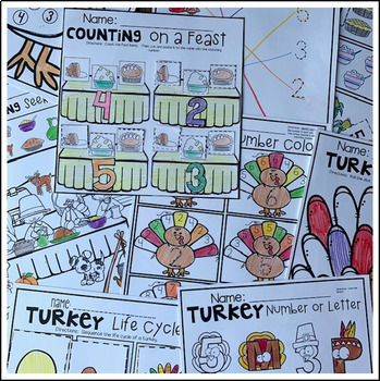 Turkey and Thanksgiving  Math and Literacy Worksheets for Preschool (November)