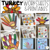 Turkey and Thanksgiving  Math and Literacy Worksheets for