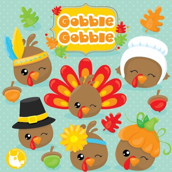 Turkey faces clipart commercial use, vector graphics, digital  - CL1033
