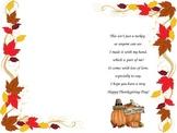 Turkey hand print poem Thanksgiving