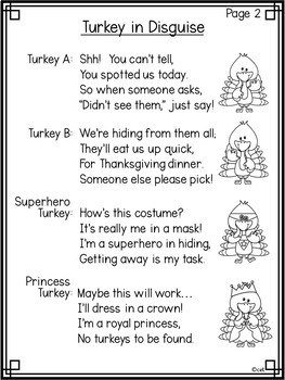 Turkey in Disguise Thanksgiving Poem with Activities