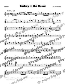 Turkey in the Straw (sheet music for intermediate guitar ensemble)