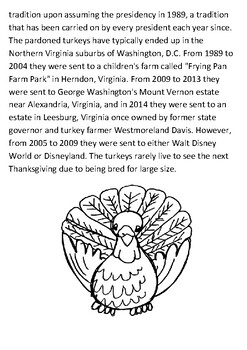 Turkey pardoning Thanksgiving Handout