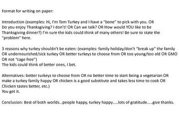 Turkey persuasive writing Fun